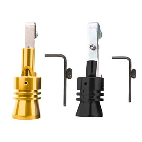 DingLong Aluminiumlegierung Auspuffrohr Lautsprecher 2PCS, Kfz-Nachrüst Turbinen-Nachrüstung, Pfeife Auspuff Oversized Roar Maker, Größe-S/M/L/XL (Schwarz + Gold) (L)