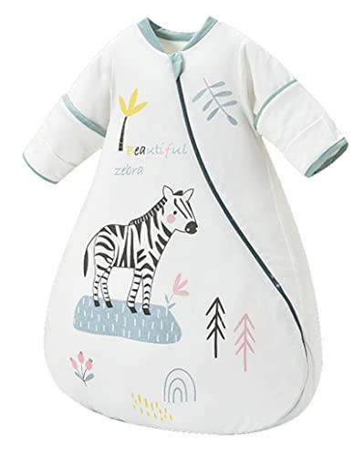 Chilsuessy Baby Schlafsack Winter 3.5 Tog Schlafsack mit abnehmbar Langarm super warm Kleinkinder Schlafsack für Jungen und Mädchen, Zebra, 70cm/Baby Höhe 65-75cm
