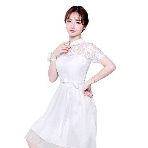 Amosfun vestido de festa de renda para dama de honra, vestido curto de formatura, vestido de casamento, floral, vestido de renda, coquetel, formal, vestido rodado, Branco, X-Large