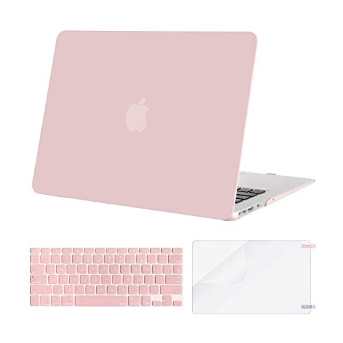 MOSISO Plastic Hard Shell Case & Keyboard Cover Skin & Screen Protector Only Compatible with MacBook Air 11 inch (Models: A1370 & A1465), Rose Quartz