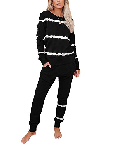 BUOYDM Chándal Deportivo Mujer Conjunto Deporte 2 Piezas Ropa de Casa Sweatshirt + Pantalones Set Casual Pijama Sportswear Negro M