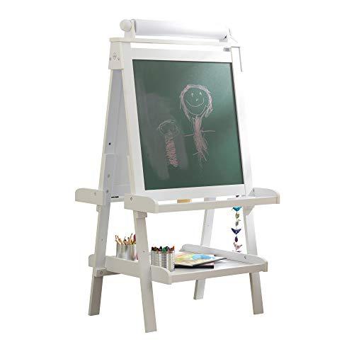 KidKraft- Caballete de madera para artistas con rollo de papel, para trabajar con lápices, marcadores, tiza, pintura y más , Color Blanco (62040)