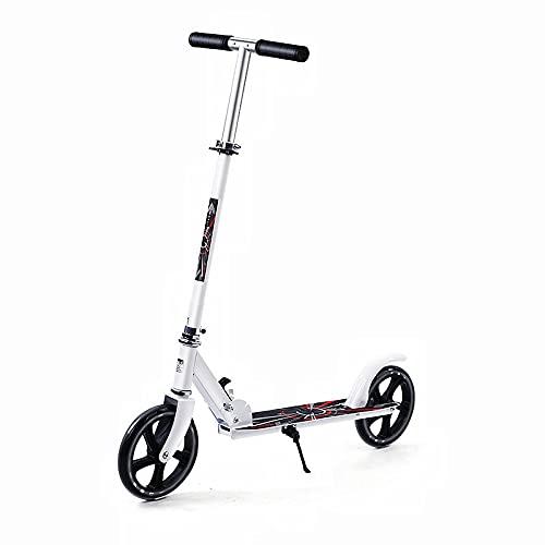 Stunt Scooter, Patinete Freestyle, Ruedas Grandes, Diseño Plegable y 3 Ajustable en Manillar Altura, Unisex, Patinetes para Niños Adolescentes y Adultos, blanco