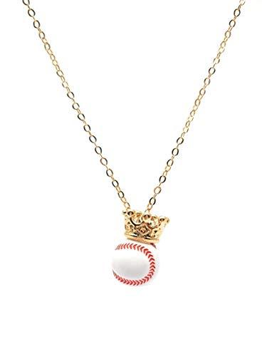 Collar baseball- beisbol- rey de los deportes – balon de beisbol con corona en chapa de oro 22k- Tutti…