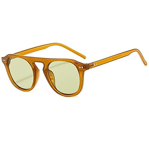 LOPIXUO Gafas de sol Gafas de sol redondas para mujer, hombre, 2021, color jalea, gafas de sol para mujer, gafas de sol Steampunk vintage, gafas de viaje, naranja oscuro, verde