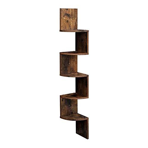 Estantería de esquina flotante de 5 niveles con diseño en zigzag, estantería, estantes de esquina de madera para montar muebles del hogar (color: madera)