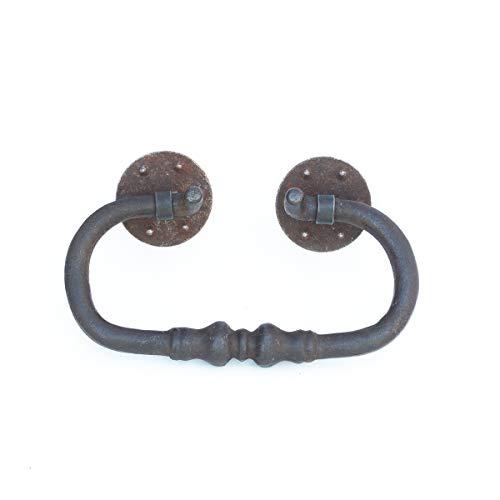Antikas | Möbelgriff in antik Optik aus Eisen | Breite 13,5 cm x Höhe 8 cm | Geeignet für alte Truhen, Kommoden, Kastenmöbel oder Gartentore