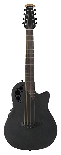 Ovation Elite TX Mid Depth 8-String Acoustic Electric Guitar - Black Satin