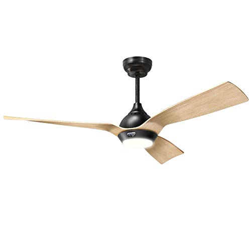 reiga 52-Inch DC Motor Ceiling Fan with Light & Remote, 3 Oak Color Blade Suit for Indoor / Outdoor, 6-Speed, 3 Color Temperature Switch