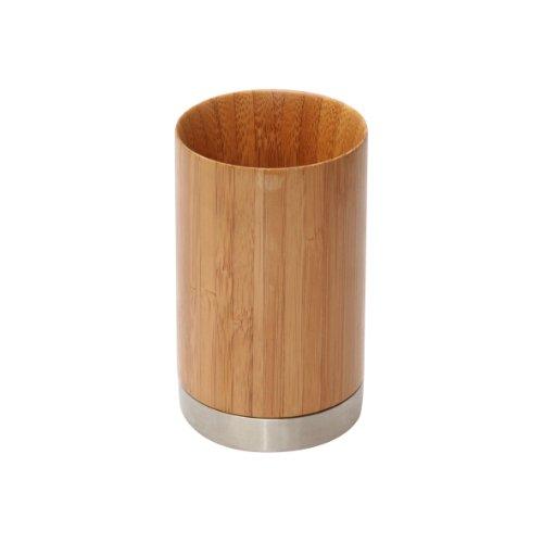 axentia 282330 Porte-Brosse à Dents, Acier inoxidable, Bois, env. 7 x 7 x 11,3 cm