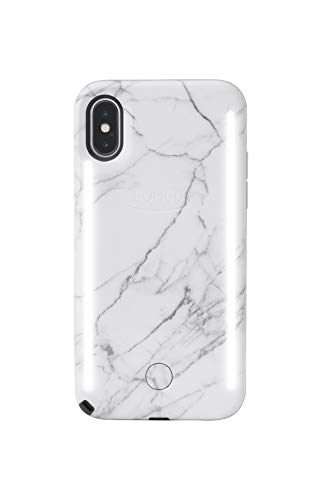 LuMee Duo Phone Case, White Marble | Front & Back LED Lighting, Variable Dimmer | Shock Absorption, Bumper Case, Selfie Phone Case | iPhone X/iPhone Xs, Model:LD-IPX-WMR2