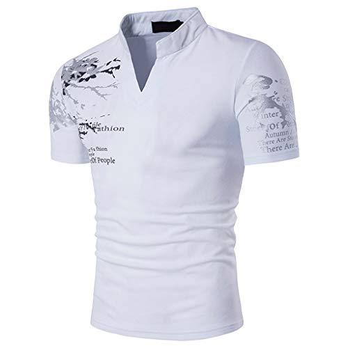 Xmiral Tops T-Shirts Herren Poloshirt Mit V-Ausschnitt Kurzarm Casual Oberteile Frühling Sommer Bodybuilding Muskel Bluse(S,Weiß)