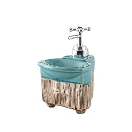 XUAN Dispensador de jabón de encimera Tipo Prensa de 400 ml / 13,52 oz, Botella de loción de cerámica Recargable para Ducha de Cocina/baño