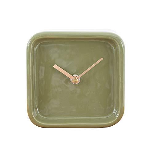 hongbanlemp Reloj Sobremesa Personalidad de Estilo nórdico clásico Cuadrado Reloj de Escritorio Reloj Mute de la Cama de la cabecera Oficina de Dormitorio Escritorio Reloj (Color : A)