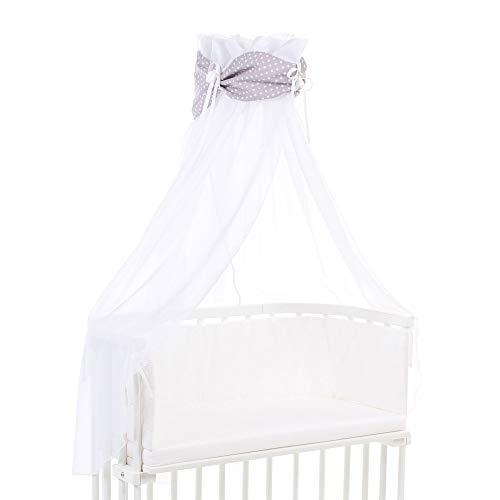 Ciel de lit babybay en coton bio avec nœud adapté aux modèles Original, Maxi, Boxspring, Comfort, Comfort Plus et Midi, gris clair avec étoiles blanches