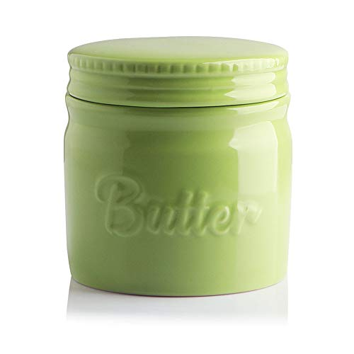 SWEEJAR Porcelain Butter Keeper Crock French Butter Dish with Water Line Ceramic Butter Container for soft butter Green
