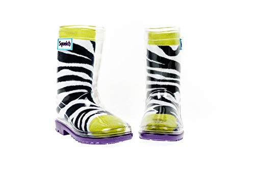 Squelch Unisex Childrens Rain Boots - Transparent Kids Wellies with Colourful Socks