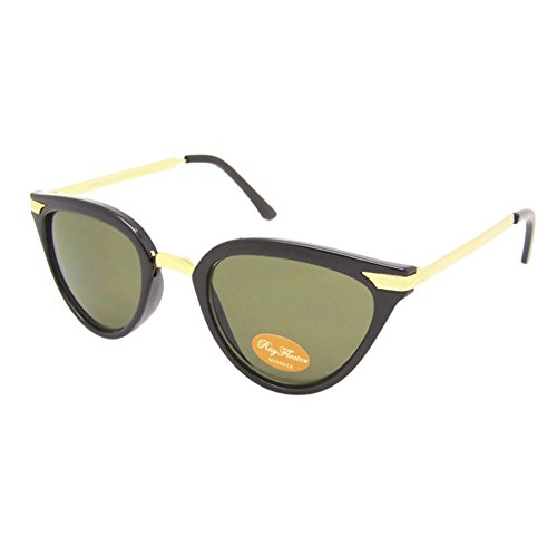 Chic-Net Gafas de Sol Mujer teñido Vendimia 400UV Ojo de Gato de Metal Dorado caballa Verde