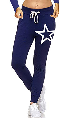 ZAHIDA Damen Hose Jogginghose Trainingshose Schlafanzug Joggen Sweatpants Stern 005 (Navy, XL (44))