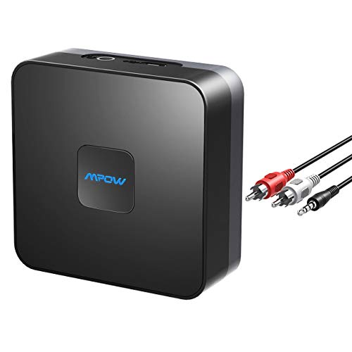 Mpow Bluetooth Receiver, Bluetooth Audio Adapter for Music Streaming Sound System, RCA & 3.5mm Aux Compatible, 15 Hours Built-in Battery, Wireless Bluetooth Audio Adapter for Home Car Stereo Speaker