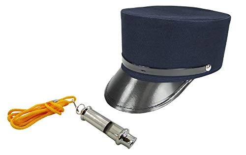 Mens Train Conductor Hat Plus Whistle Fancy Holiday Costume Accessory Adult