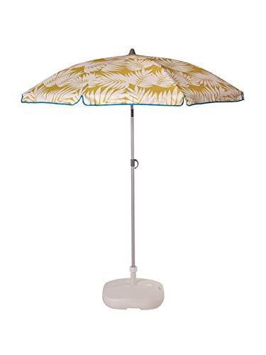 Ezpeleta Sombrilla de Playa de Aluminio|Sombrilla terraza|Parasol Plegable y Ligero|Inclinable|Protección Solar UPF 50+|Diámetro 165cm|Incluye Funda y Rosca|Tejido Estampado (Hojas-Verde)