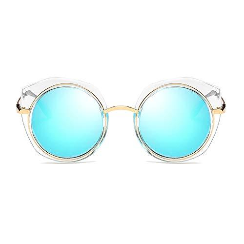 LCSD Gafas de sol para hombre polarizadas con marco redondo protección UV400 clásico de moda transparente marco (color: azul)