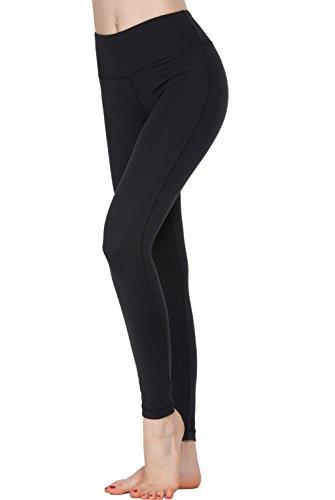 Oalka Women Power Flex Yoga Pants Workout Running Leggings Black L