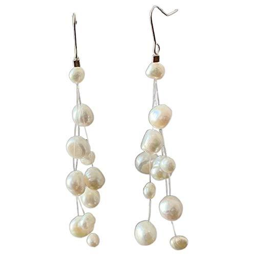 Earring Natural Freshwater Baroque Pearl Drop Earrings S925 Sterling Silver Multilayer Long Tassels Jewelry For Women Gift