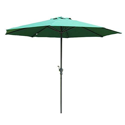 YYQ SHOP ø2.7m Sombrilla Parasol Manivela de Apertura Fácil Redonda Poliéster protección Solar UV50+ para Comercial Market jardín Cafetería Beige Caqui Verde Oscuro