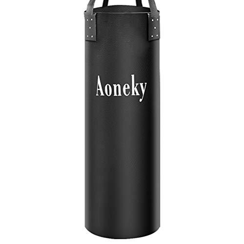 Aoneky Boxningssäck 106x30cm med Hängningsapparat, för MMA, Judo, Muay Thai - Tung Väska för Bodybuilding för Vuxna Barn (Ofylld)