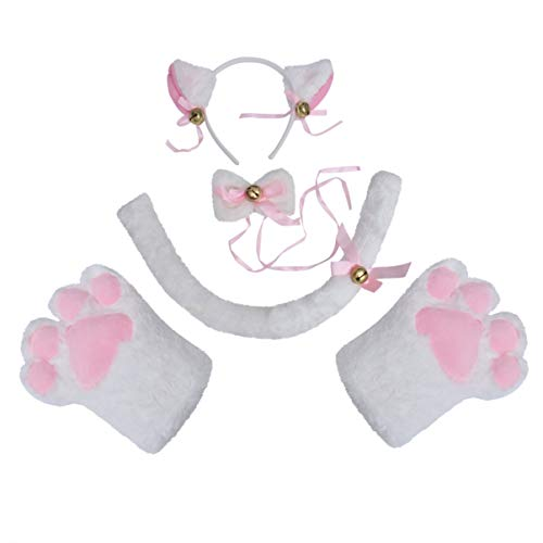 TOYANDONA Katze Cosplay Kostüm Set Kätzchen Schwanz + Ohren Stirnband + Kragen + Pfoten Handschuhe für Kinder (weiß)