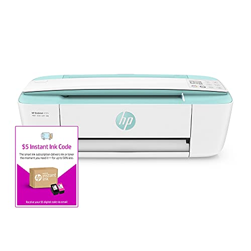 HP DeskJet 3755 Compact All-in-One Wireless Printer - Seagrass Accent (J9V92A) and Instant Ink $5 Prepaid Code