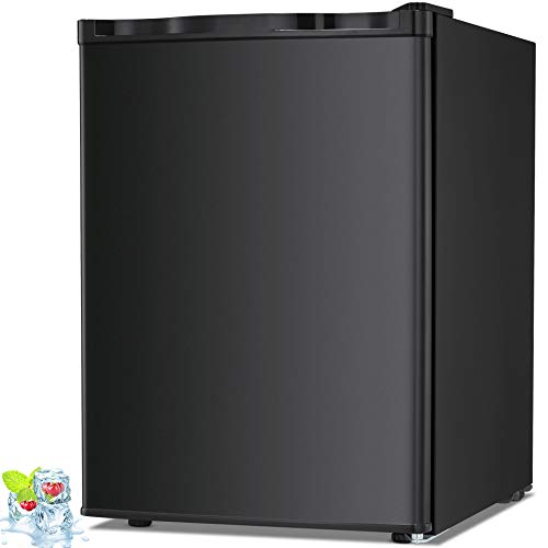 Kismile 2.1 Cu.ft Compact Upright Freezer with Reversible Single Door,Removable Shelves Mini Freezer with Adjustable Thermostat for Home/Kitchen/Office (2.1 Cu.ft, Black)