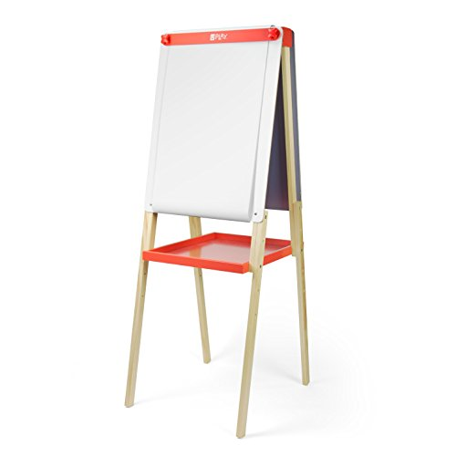 U Play Adjustable Art Easel for Kids, Double Sided Chalk and Dry Erase Surface with Paper Roll, 28.93 x 5.51 x 17.12 Inches