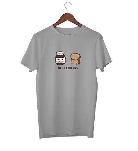 Best Friends BFF Nutellla Butter Bread Mix_KK015907 Shirt T-Shirt für Männer Herren Tshirt for Men Gift for Him Present Birthday Christmas - Men's - Large - Grey