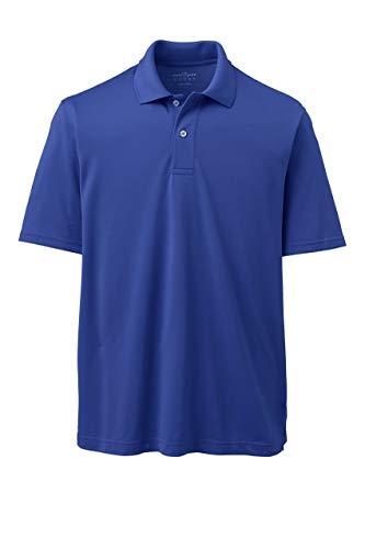 Lands' End Mens Short Sleeve Polyester Polo Shirt Dark Cobalt Blue Regular Large
