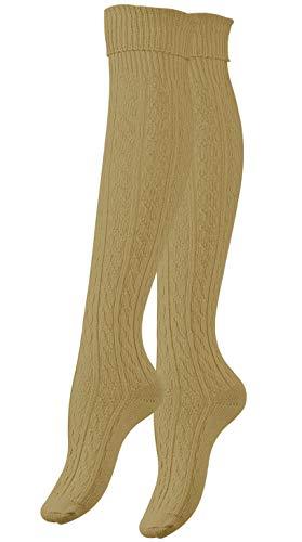 Vincent Creation Stiefel Kniestrümpfe mit Umschlag, Zopfmuster, Grobstrick, beige