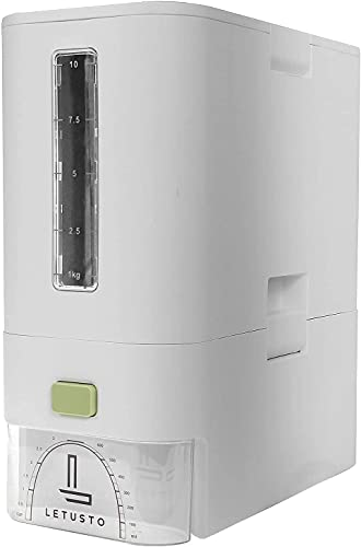 Letusto Rice Dispenser - Rice Storage Dry Food Container Max 26 Pounds Capacity - Great Kitchen Organizer with Measurable Rice Cylinder - BPA Free Plastic & Airtight Design