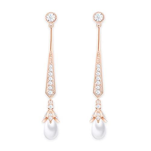 HAISWET Pendientes de novia con perlas artificiales, chandelier colgantes, pendientes de circonita, color oro rosa