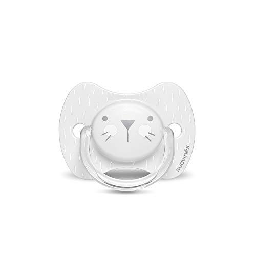 Suavinex - Chupete premium para bebés 0-6 meses. Chupete con tetina fisiológica de silicona. 0% BPA. Color gris.