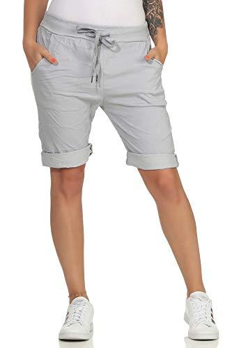 MATY FASHION Damen Bermuda Kurze Hose Shorts für den Strand Sweatpants Sommerhose 44 (34-40, Hellgrau)