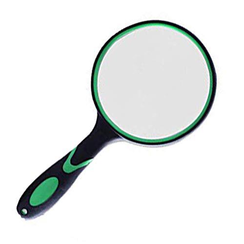 拡大鏡 手持ちルーペ10倍、直径100mm虫眼鏡 老眼鏡 ガラスレンズ 読み物 生物学の観察 宝石類(グリーン)