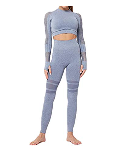 SUMTTER Sportanzug Damen Sexy Yoga Outfit Langen Ärmel Top + Lange Hose Leggings Sexy Jogginganzug Trainingsanzug Slim Fit