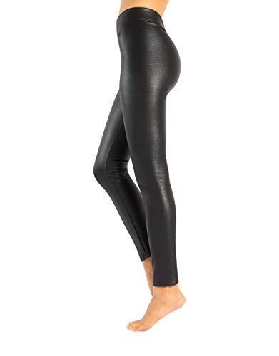 CALZITALY Leggings en Simil Cuir avec Paillettes et Tissu en Polaire Thermique | Noir | XS, S, M, L, XL | Made in Italy (XL, Noir)