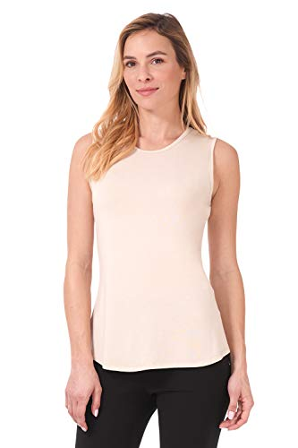 Rekucci Women's Soft Jersey Knit Sleeveless Tank Top (S-XXL) (X-Large,New Tan)