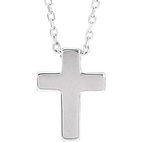 Ryan Jonathan Fine Jewelry Sterling Silver Petite Cross Necklace, 16' + 5' Extender
