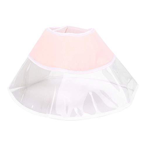 Zerodis Collar Protector de Recuperación de Curación para Gatos PVC Pet Elizabeth Circle Cubierta de Cabeza Antimordida Collar Isabelino de Gato(Beige Melocotón)