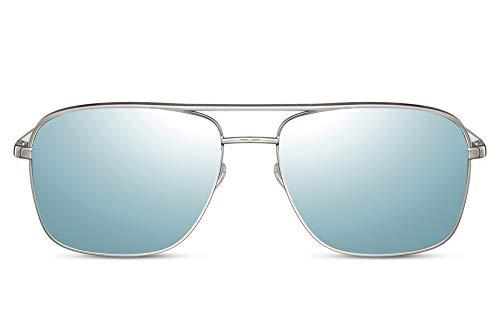 Cheapass Gafas de Sol Metálicas Plateadas Elegantes Grandes Amplias Piloto con Plateadas/Marrón Espejadas Lentes Protección UV400 Hombres