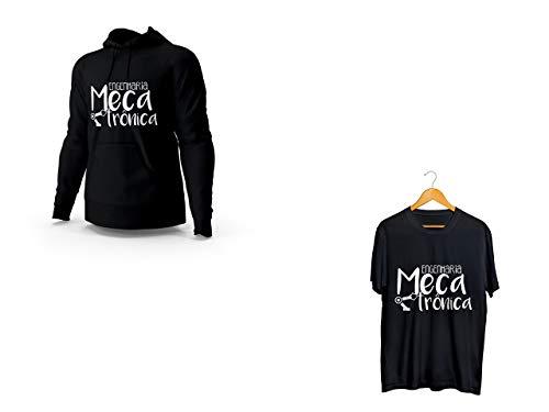 Kit Blusa Moletom Engenharia Mecatronica e Camiseta Preto Unissex Tamanho:M